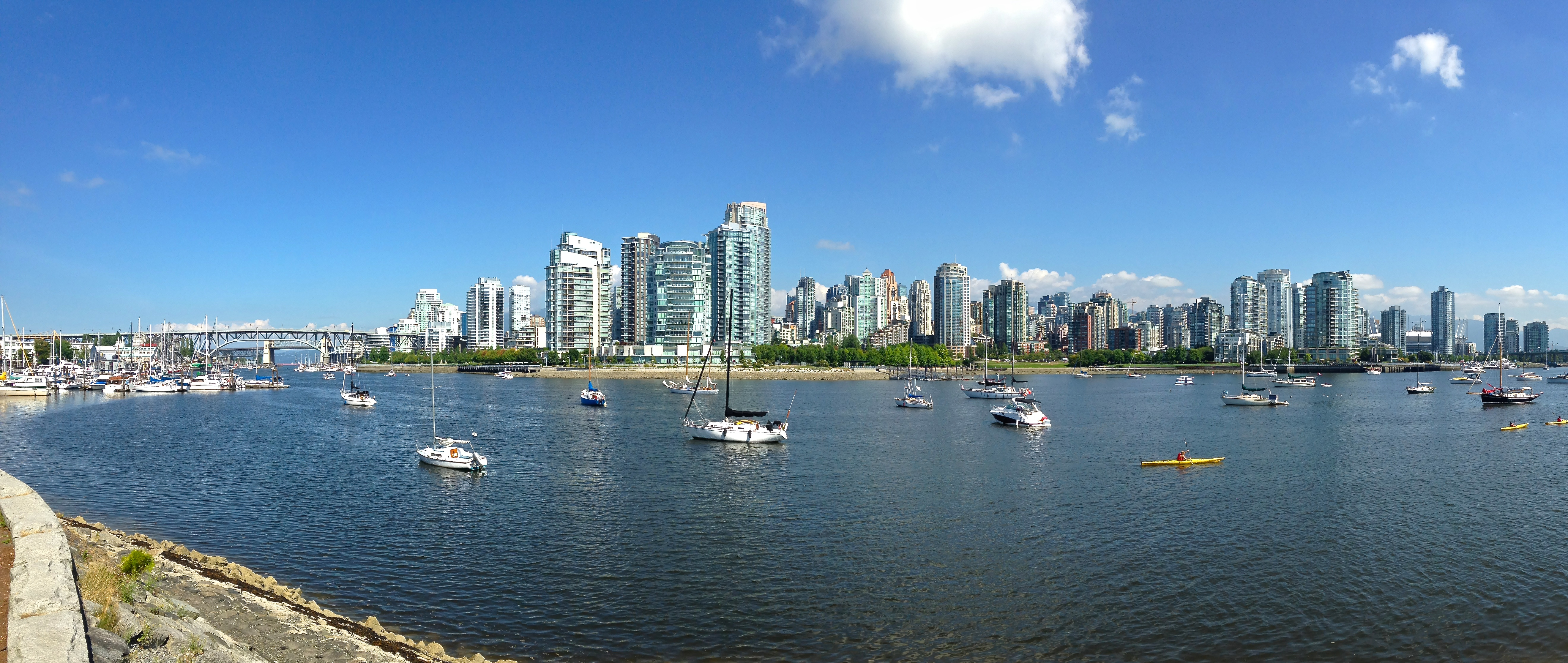 Looking across False Creek back to downtown Vancouver.